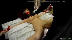 Two adorable doll fucking a lucky tattooed man in a hotel room