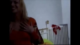 Blonde chick sucks her best friend's dick and takes it deep in her beautiful mouth