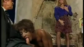 Juicy retro shemale is sucking her boyfriend's dick while getting her pussy licked and fucked