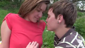 Red haired teen seduced her step- brother and gave him a deep blowjob as a birthday present
