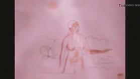 Mujer artificialmente dibujo en trio