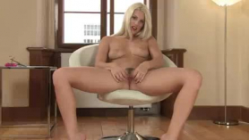 Sexy german movie star with long legs likes to rub her round ass while getting fucked