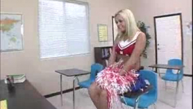 Busty blonde cheerleader sucking horny boys cock in the ring