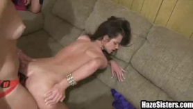 Three sorority babes going lesbian on each other with a strapon