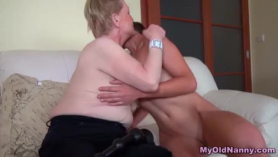 Mature, bald woman with perky tit is having sex with her ex, in the bedroom
