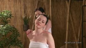A busty masseuse sucking her client