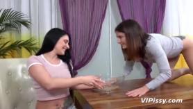 Lesbian roommates in threesome sex