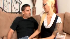 Nasty blonde babe with big nipples likes to get a big black cock, while on the couch