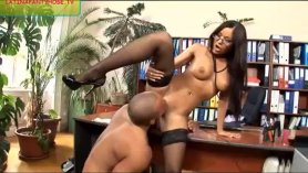 Shy office secretary fucked by suit injected threeway