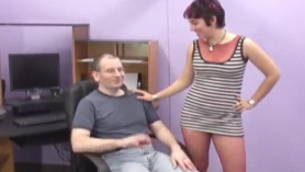 Horny woman likes to tease her step- son, while the guy keeps sucking her feet