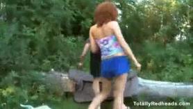 Cute redhead lesbian babe masturbates with sex toys