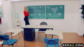 Mature teacher gets intense orgasm after riding on a young guy in class