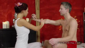 Erotic blonde masseuse is gently seducing one of her favorite clients to get to know her better
