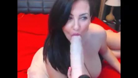 Hot woman is using a glass dildo on her like a dirty whore, especially while getting fucked hard