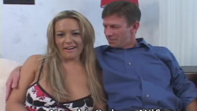 Naughty blonde milf, mandy devine is licking her young lover's hard meat stick, on the floor