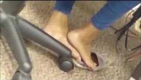 Foot fetish horny stepmom rubs her hot girlfriend