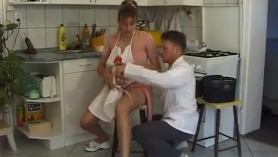 Pregnant woman with big tits is getting fucked from the back, instead of having regular working hours