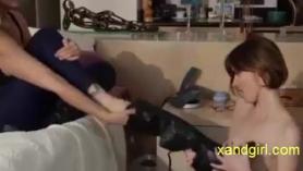 Horny lesbian named lela star sucks a lover's big dick during their near- total call